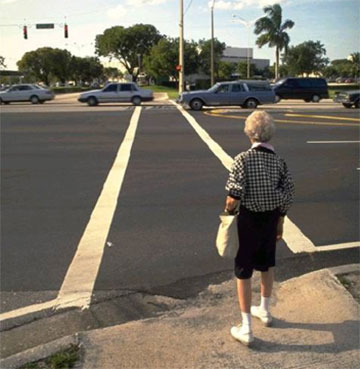 Wide streets, even with crosswalks and signals, are intimidating to older persons and can make it  hard for seniors to even see the walk signal.  Refuge medians that allow people to cross one direction of traffic at a time make it much easier for slower pedestrians to get around.